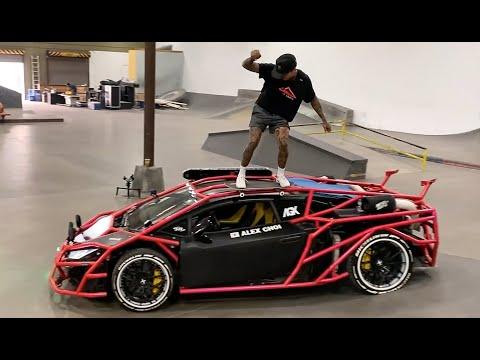 Nyjah Skates A Lamborghini Inside The Berrics