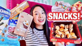 TRYING WEIRD JAPANESE SNACKS! 👎🏻 BURGER & MILKTEA CHOCO? OREO POPCORN?