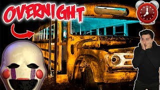 DONT SLEEP IN A SCHOOL BUS AT 3 AM | OVERNIGHT CHALLENGE IN SCHOOL BUS (MARIONETTE APPEARS)