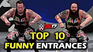 "WWE 2K17 - Top 10 Funny Entrances ""GIMMICK SWAP"" Reigns, Lesnar, Orton, Cena & More! (PS4/XB1)"