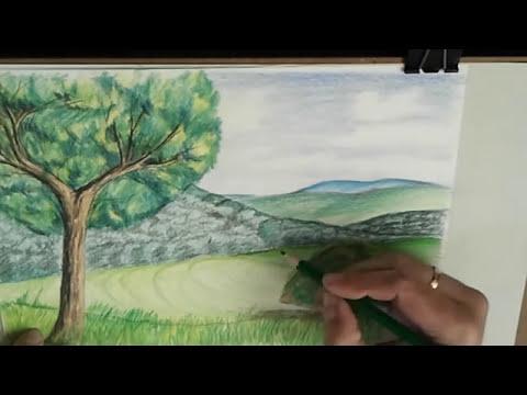Como enseñar a niños dibujo artístico: Dibujar un paisaje realista. Color, luz, sombra y texturas.