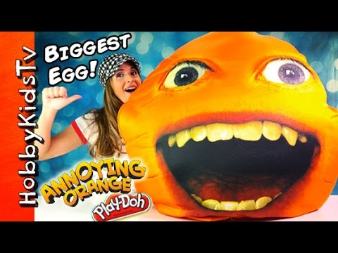 Worlds BIGGEST Annoying Orange Surprise Egg! Toys Imaginext, Marshmallow Play-Doh HobbyKidsTV
