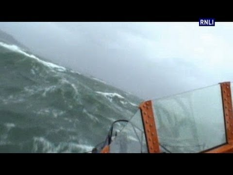 Plymouth lifeboat launches into storm force 10