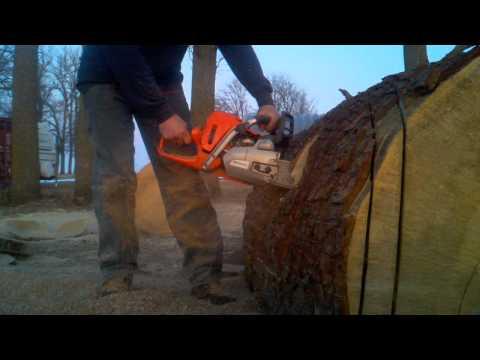 Husqvarna 562xp chainsaw pulling a 36