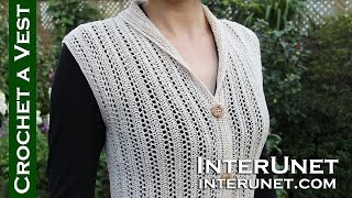 Crochet a collared cardigan vest lace jacket - ear of wheat stitch (with Spanish subtitles)