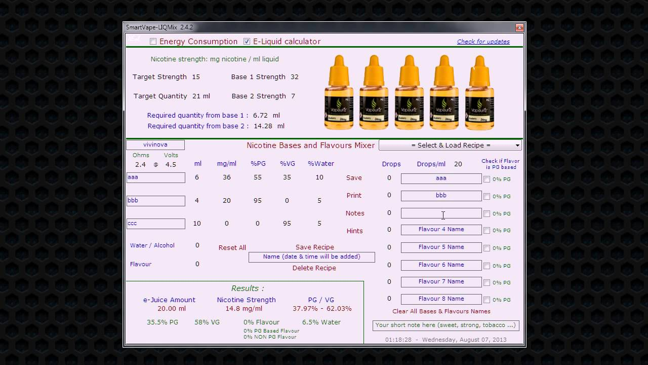 E Liquid Calculator >> Smart Vape LIQMix : eJuice Recipe Calculator - YouTube