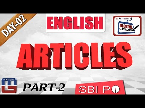 IMPORTANT QUESTIONS BASED ON ARTICLES | ENGLISH GRAMMAR  | DAY - 2 | DIGITAL CLASS | SBI PO 2017 |
