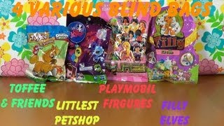 4 various Blind Bags Toffee & Friends, Littlest PetShop, Playmobil and Filly unboxing