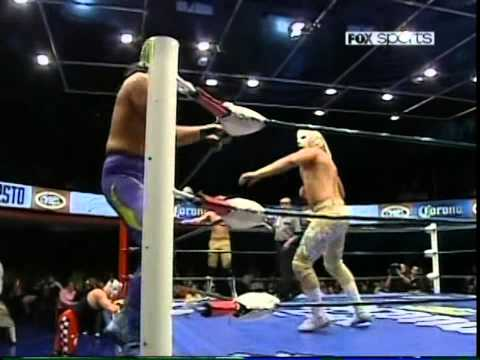 CMLL: Guerrero Maya Jr., Delta, Diamante vs. Puma King Tiger Kidd, Bronco, 2009/11/01 (falls 1/3)