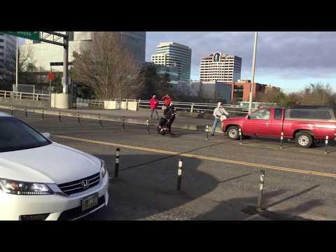 Antifa getting hit by truck . Portland Oregon
