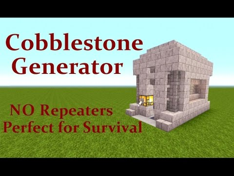 Minecraft Tutorial : Automatic Cobblestone Generator.  NO Repeaters