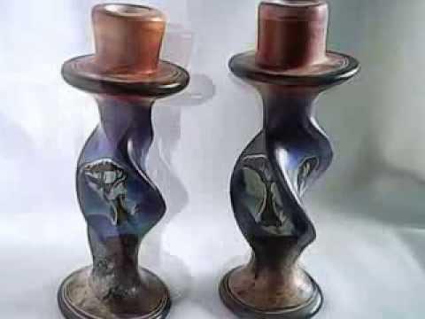 African Handmade soapstone save the Rhino candle holders kenya Kisii art