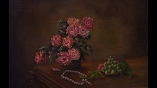 Time lapse painting. Still life with beads. Пишем натюрморт с бусами.