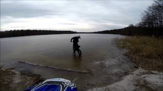 IRBIS TTR 125 Winter motorcycle and Riding sideways on ice Go pro.