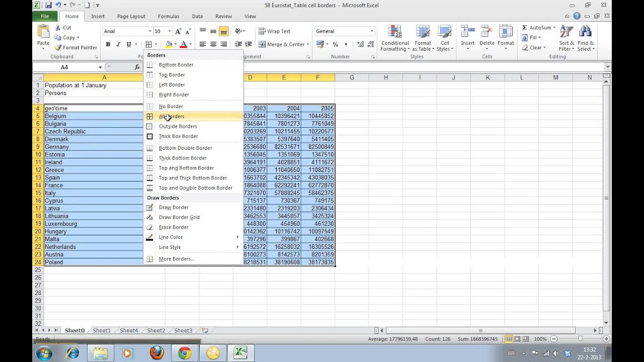 Drawing Lines Through Cells Excel : How to add borders cells in excel youtube