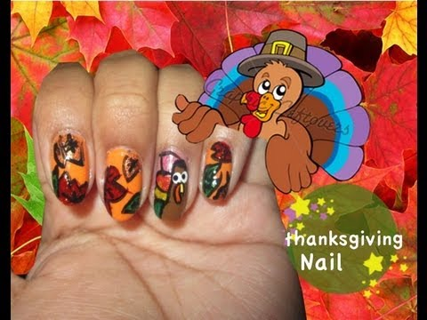 Fall Leaves and Thanksgiving Nail Art