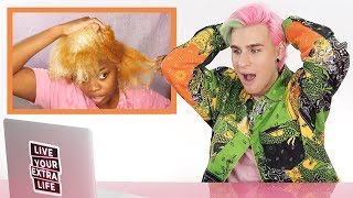 HAIRDRESSER REACTS TO NATURAL HAIR BLEACH FAIL!
