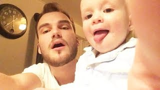 Daddy Teachs Baby Beatbox - Cute Baby At Home Alone With Father