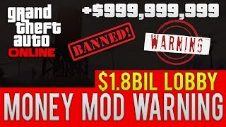"""GTA ONLINE $1.8 BILLION MONEY"" ""MOD LOBBY"" WARNING! (GTA 5 ONLINE)"