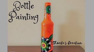 Bottle Painting DIY   How to paint on wine bottle   Bottle Recycle