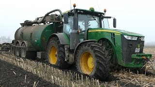 John Deere 8370R Getting Stuck in The Mud w/ Samson PG25 While Injecting Slurry | Danish Agriculture