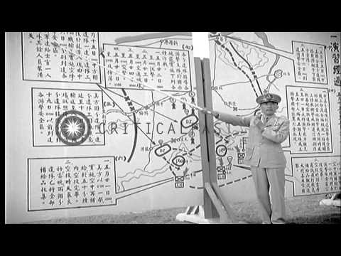 A Chinese officer briefs officers during Exercise Hsien Feng in Taiwan. HD Stock Footage