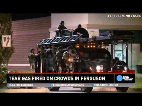 Tear gas fired on Ferguson protestors
