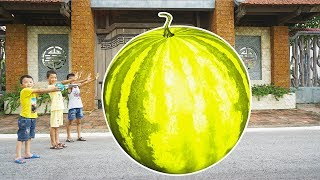 Kids Go To School Play Selling Ice Cream Giant Yellow Melon w/ Kids ABC Song Childrens