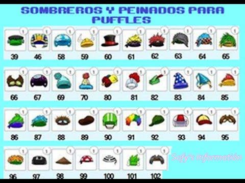 Codigos de Sombreros y Peinados Para Puffle En Freepenguin