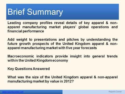 Apparel & Non Apparel Manufacturing in the United Kingdom - Reports Corner