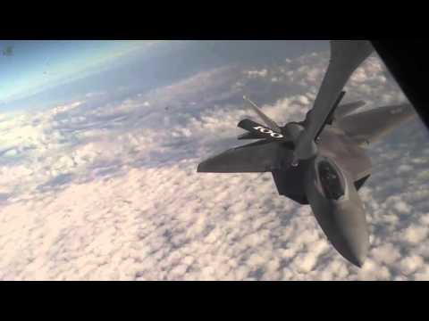 Air Force F-22 Aerial Refueling over Arabian Sea