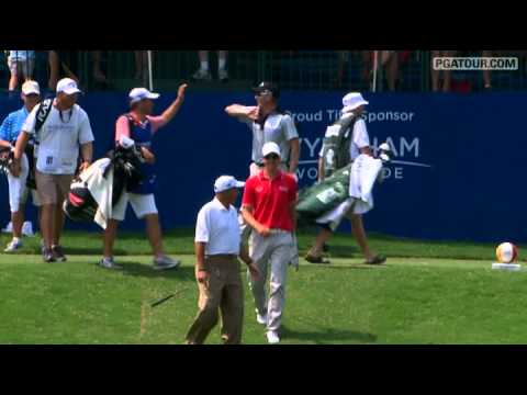 "In the second round of the 2011 Wyndham Championship, Derek Lamely aces his tee shot on the 159-yard par-3 16th hole and wins ""Vacations for Life"" from Wyndh..."