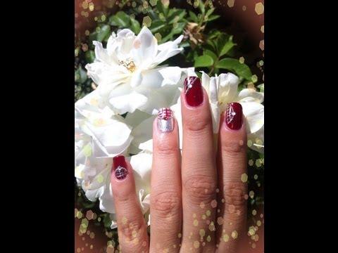 Diseño de uñas Rojo Y Plata (No Konad)