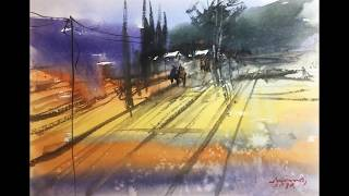 Landscape expression watercolor painting by Mimo