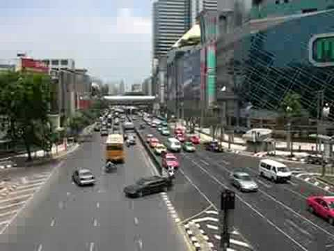 view from walkway outside MBK in Bangkok Thailand