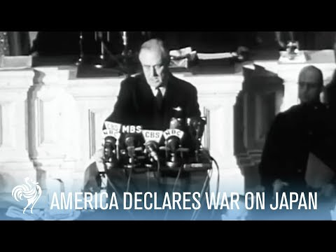 America Declares War on Japan - President Roosevelt Speech [Full Resolution]. On December 8, 1941, President Roosevelt declares war on Japan, the day after Japan bombed Pearl Harbour. Roosevelt...