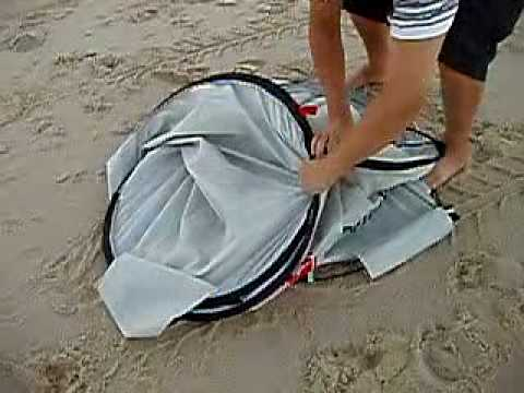Auto Pop Up Beach Tent Folding . Sun Shade. UV Shelter / How to set up and fold close