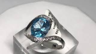 08. 14KT Gold Blue Topaz(2.99ct) w/ CZ Ring(3g)