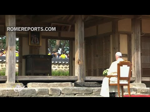 Pope Francis prays at the shrine where the first Korean priest was born