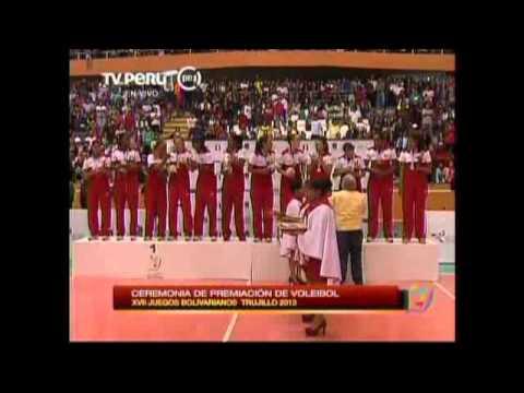 Premiacion Medalla de oro para el Voley peruano XVII Juegos Bolivarianos 2013 Trujillo 29 11 13