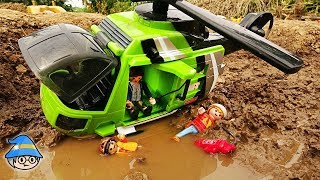 Rescue people with helicopter toys. Find a toy in a muddy pool