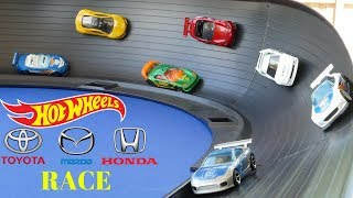 Hot Wheels fat track curve tournament race (Honda,Mazda,Toyota)