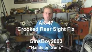 AK 47, Crooked Rear Sight Fix.  It is not canted...