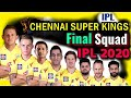 Vivo IPL 2020 Chennai Super Kings Final and Confirm Squad | C...