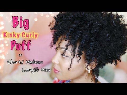 How To: Big Kinky Curly Puff For Short   Medium Length Natural Hair video