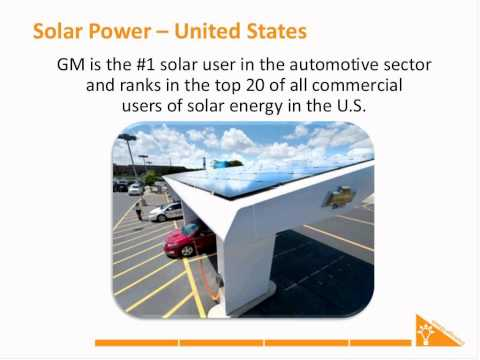 How is General Motors benefiting from solar power?