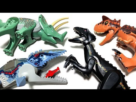 10 LEGO DANGEROUS DINOSAURS JURASSIC WORLD FALLEN KINGDOM TOYS for kids - CARNOTAURUS INDORAPTOR