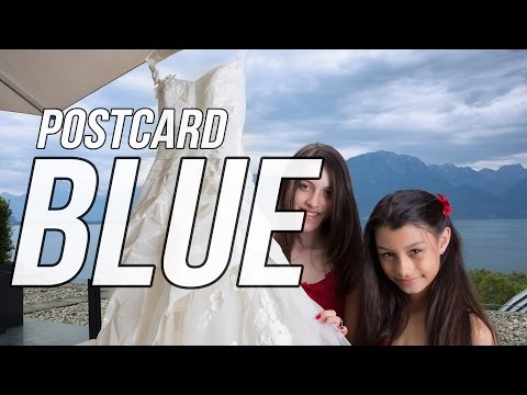 Postcard-blue sky and mountains - outdoor portraits with flash
