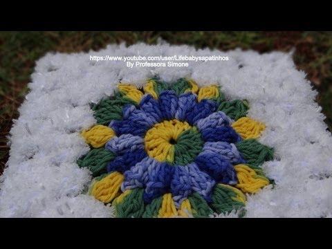 Title: Quadrado de crochet para fazer tapete de barbante ,passo a ...