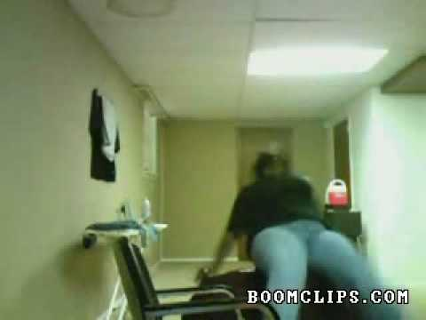 Fat girls falls off table
